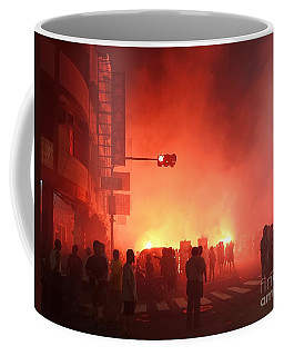 Coffee Mug featuring the photograph Fireworks During A Temple Procession by Yali Shi