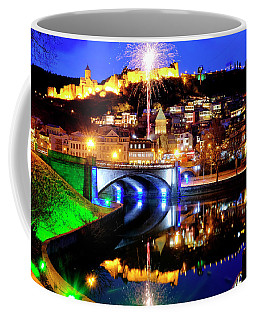 Coffee Mug featuring the photograph Fireworks Over Old Tbilisi by Fabrizio Troiani