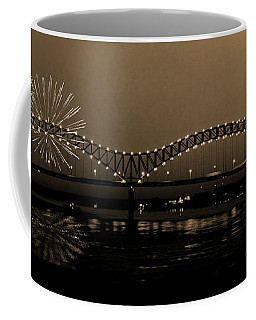 Fireworks Over The Mississippi Coffee Mug