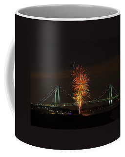 Fireworks Over The Verrazano Narrows Bridge Coffee Mug