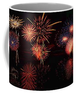 Fireworks Reflection In Water Panorama Coffee Mug