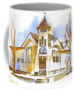 Coffee Mug featuring the painting First Baptist Church In Winter by Kip DeVore