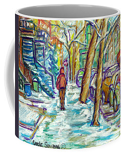 First Snowfall Verdun Winter Walk Montreal Street Scene Canadian Artist Carole Spandau Coffee Mug by Carole Spandau