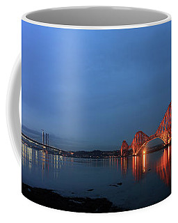Coffee Mug featuring the photograph Firth Of Forth Bridges At Twilight - Panorama by Maria Gaellman