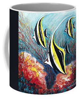 Moorish Idol Fish And Coral Reef Coffee Mug