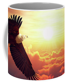 Fish Eagle Flying Above Clouds Coffee Mug