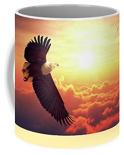 Fish Eagle Flying Above Clouds Coffee Mug