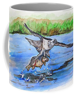 Coffee Mug featuring the painting Fish For Lunch by Clyde J Kell