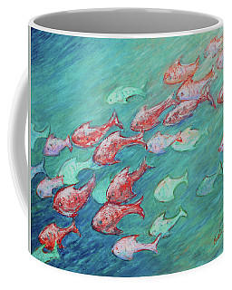 Coffee Mug featuring the painting Fish In Abundance by Xueling Zou