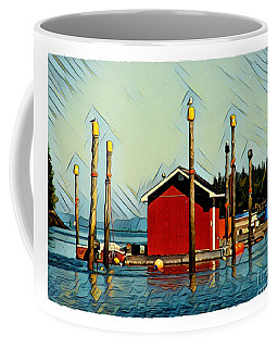 Coffee Mug featuring the digital art Fish Shack, Campobello by Art MacKay