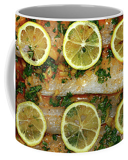Coffee Mug featuring the photograph Fish With Lemon And Coriander By Kaye Menner by Kaye Menner