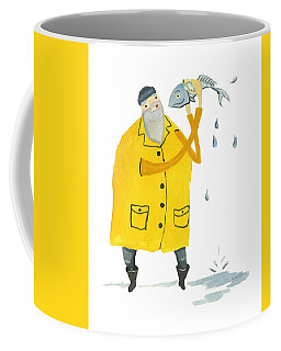 Coffee Mug featuring the painting Fisherman by Leanne WILKES