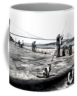 Fishermen And Cats Istanbul Art Coffee Mug