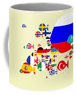 Fishes Map Of Europe Coffee Mug