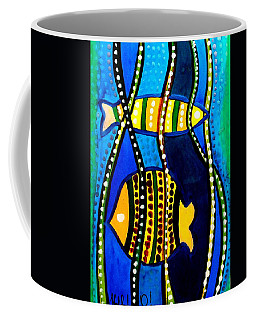 Coffee Mug featuring the painting Fishes With Seaweed - Art By Dora Hathazi Mendes by Dora Hathazi Mendes