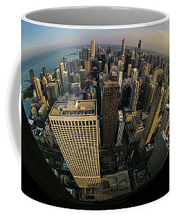 Fisheye View Of Dowtown Chicago From Above  Coffee Mug