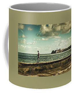 Coffee Mug featuring the photograph Fishing Along The Malecon by Lou Novick