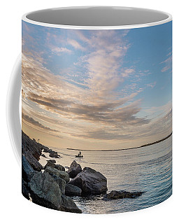 Coffee Mug featuring the photograph Fishing Along The South Jetty by Greg Nyquist