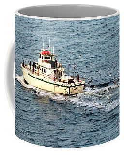 Coffee Mug featuring the photograph Fishing And Seagulls by Randall Weidner