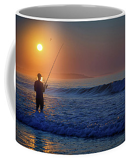 Coffee Mug featuring the photograph Fishing At Sunrise by Rick Berk