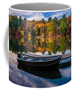 Fishing Boat On Mirror Lake Coffee Mug