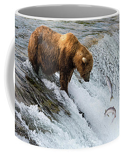 Fishing Brown Bear At Brooks Falls, Katmai National Park Coffee Mug