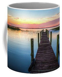 Coffee Mug featuring the photograph Fishing Dock At Sunrise by Debra and Dave Vanderlaan