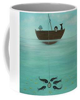 Coffee Mug featuring the painting Fishing For Time by Tone Aanderaa