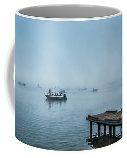 Coffee Mug featuring the photograph Fishing In The Fog Summersville Lake  by Thomas R Fletcher