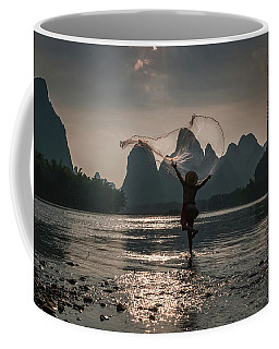 Fisherman Casting A Net. Coffee Mug