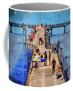 Fishing Off Galvaston Pier Coffee Mug