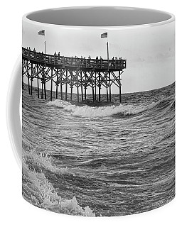 Coffee Mug featuring the photograph Fishing Off The Pier At Myrtle Beach by Chris Flees