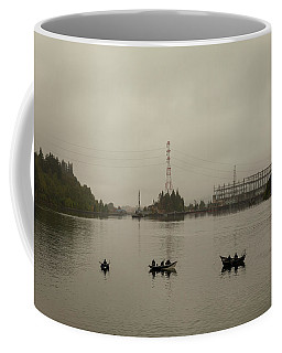 Fishing On Foggy Columbia River Coffee Mug