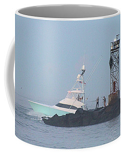 Coffee Mug featuring the photograph Fishing On The Inlet Jetty by Robert Banach