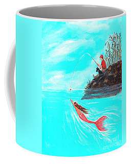 Coffee Mug featuring the painting Fishing Surprise by Leslie Allen