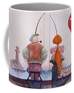 Fishing With Grandpa Coffee Mug by Geni Gorani