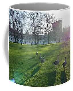Five Ducks Walking In Line At Sunset With London Museum In The B Coffee Mug