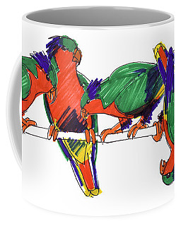 Coffee Mug featuring the drawing Five Rimatara Lorikeets by Judith Kunzle