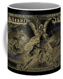 Coffee Mug featuring the digital art Five U.s. Dollar Bill - 1896 Educational Series In Gold On Black  by Serge Averbukh