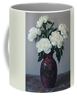 Five White Peonies In Purple Vase Coffee Mug
