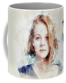 Flame Haired Girl Watercolour Coffee Mug
