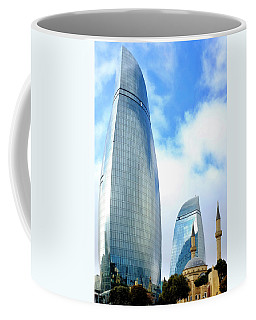Coffee Mug featuring the photograph Flame Towers And Shahids Mosque by Fabrizio Troiani