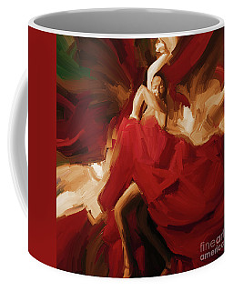 Coffee Mug featuring the painting Flamenco Spanish Dance Painting 01 by Gull G