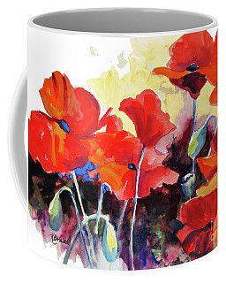 Coffee Mug featuring the painting Flaming Poppies by Kathy Braud