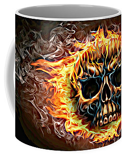 flaming skull Punk Gothic Biker Art Coffee Mug