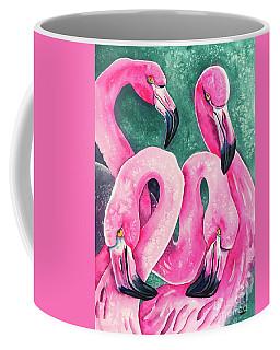 Coffee Mug featuring the painting Flamingo Magic by Zaira Dzhaubaeva