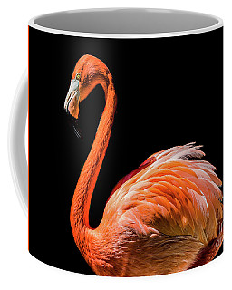 Flamingo On Black Coffee Mug by Mitch Shindelbower