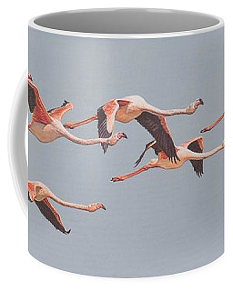 Flamingos In Flight Coffee Mug