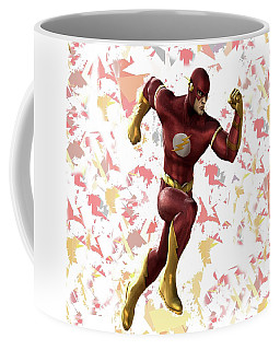 Coffee Mug featuring the mixed media Flash Splash Super Hero Series by Movie Poster Prints