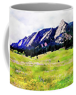 Coffee Mug featuring the digital art Flatirons - Boulder, Colorado by Joseph Hendrix